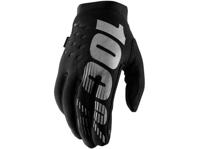 100% Brisker Cold Weather Guanti da bicicletta, black/grey